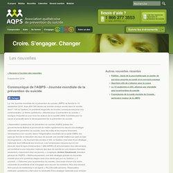Communiqué de l'AQPS - Journée mondiale de la prévention du suicide