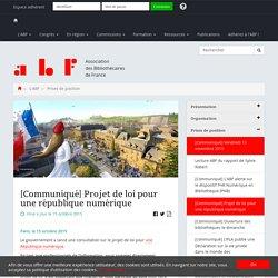 [Communiqué] Projet de loi pour une république numérique