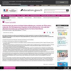 Communiqué de presse de Najat Vallaud-Belkacem, à la suite des attentats terroristes qui ont frappé Paris et la Seine-Saint-Denis