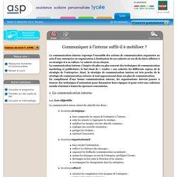 Communiquer à l'interne suffit-il à mobiliser ? - Réviser le cours - Ressources Humaines et Communication