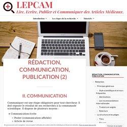 Communiquer son travail de recherche - LEPCAM