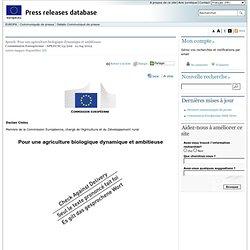 EUROPE 11/04/13 Speech: Pour une agriculture biologique dynamique et ambitieuse