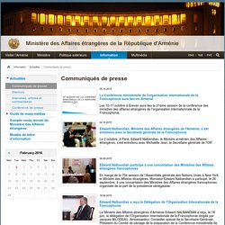 Communiqués de presse - Ministère des Affaires étrangères de la République d'Arménie