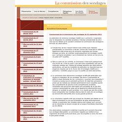 Actualité et Communiqués - Commission des sondages (contrôle, interdiction, publication)