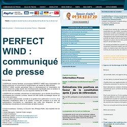 Communiqué de presse - Salle de presse - Conference de presse - Diffusez communique - PERFECT WIND : communiqué de presse