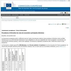 Commission Européenne - COMMUNIQUES DE PRESSE - Communiqué de presse - Procédures d'infraction du mois de novembre: principales décisions