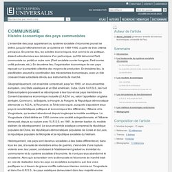 COMMUNISME - Histoire économique des pays communistes