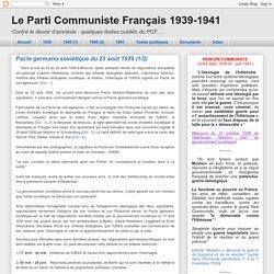 23/08/1939 Pacte germano-soviétique
