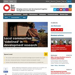 Local communities 'sidelined' in development research