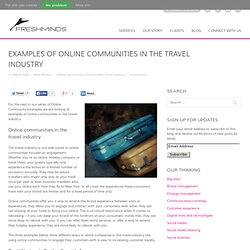 Blog » Blog Archive » Examples of online communities in the trav