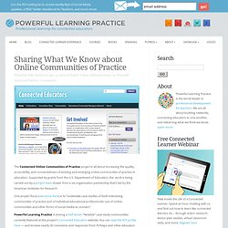 Sharing What We Know about Online Communities of Practice