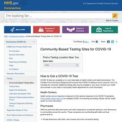 Community-Based Testing Sites for COVID-19