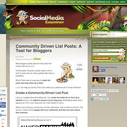 Community Driven List Posts: A Tool for Bloggers