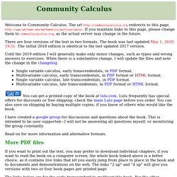 Community Calculus