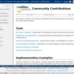 Community Contributions - InC-Assurance - Internet2 Wiki