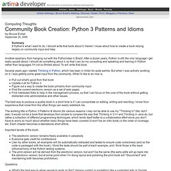 Community Book Creation: Python 3 Patterns and Idioms