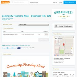 Community Financing Mixer - December 15th, 2015 Tickets, Portland