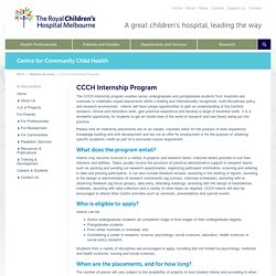 Centre for Community Child Health : CCCH Internship Program