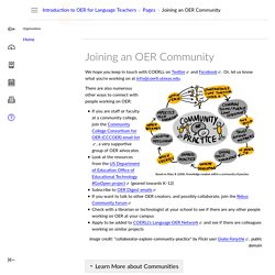 Joining an OER Community: Introduction to OER for Language Teachers