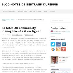 La bible du community management est en ligne ! | Bloc-Notes de