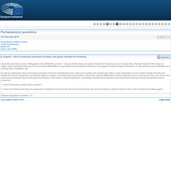 PARLEMENT EUROPEEN - Réponse à question E-002511-15 Intra-Community movement of sheep and goats intended for breeding