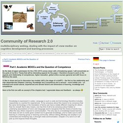 Community of Research 2.0 » Part I: Academic MOOCs and the Question of Competence
