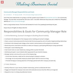 Community Manager Responsibilities and Goals