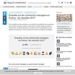 Enquête sur les community managers en France : les résultats 2017 - Blog du Modérateur