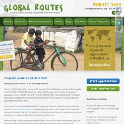 Global Routes – Community Service Abroad – High School Gap Year Adults » Field Staff Application