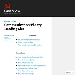 Communization Theory Reading List – Eden Sauvage