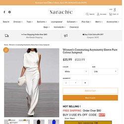 Women's Commuting Asymmetry Sleeve Pure Colour Jumpsuit – narachic