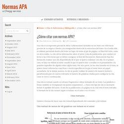 ¿Cómo citar con normas APA?