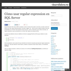 Cómo usar regular expression en SQL Server