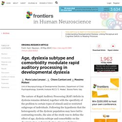 Age, dyslexia subtype and comorbidity modulate rapid auditory processing in developmental dyslexia