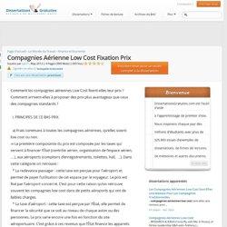 Compagnies Aérienne Low Cost Fixation Prix - Notes de recherches - Ljie71