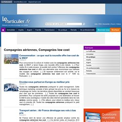 Compagnies aériennes, Compagnies low cost