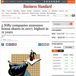 5 Nifty companies announce bonus shares in 2017; highest in 11 years