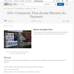 100+ Companies That Accept Bitcoins As Payment