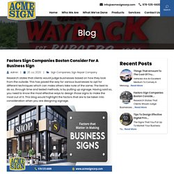 Factors Sign Companies Boston Consider for a Business Sign