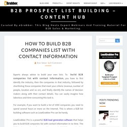 How to Build B2B Companies list with Contact information