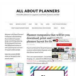 Planner companies that will let you download, print and try their planner layout for free - All About Planners
