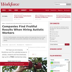 Companies Find Fruitful Results When Hiring Autistic Workers