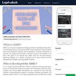 XBRL FAQ Part-1st for companies