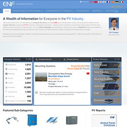ENF List of Solar Companies, PV Manufacturers: Solar Panels, Inverters