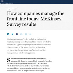 How companies manage the front line today: McKinsey Survey results