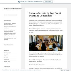 Success Secrets by Top Event Planning Companies