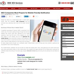 SEO Companies Must Prepare for Mobile-Friendly Notification