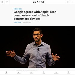 Google CEO Sundar Pichai doesn't think Apple should help the FBI hack the San Bernardino shooter's iPhone either
