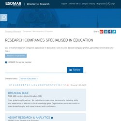 Market Research Companies specialised in Education