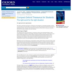 OUP Companion web site:The right word for the right situation
